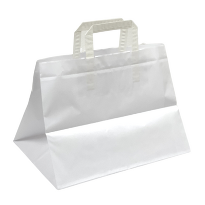 White Patisserie Paper Bags Flat Handle (25 Pack) - 2 Sizes Available