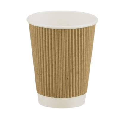 Kraft Ripple Disposable Paper Cups (25 Pack) - 3 Sizes Available