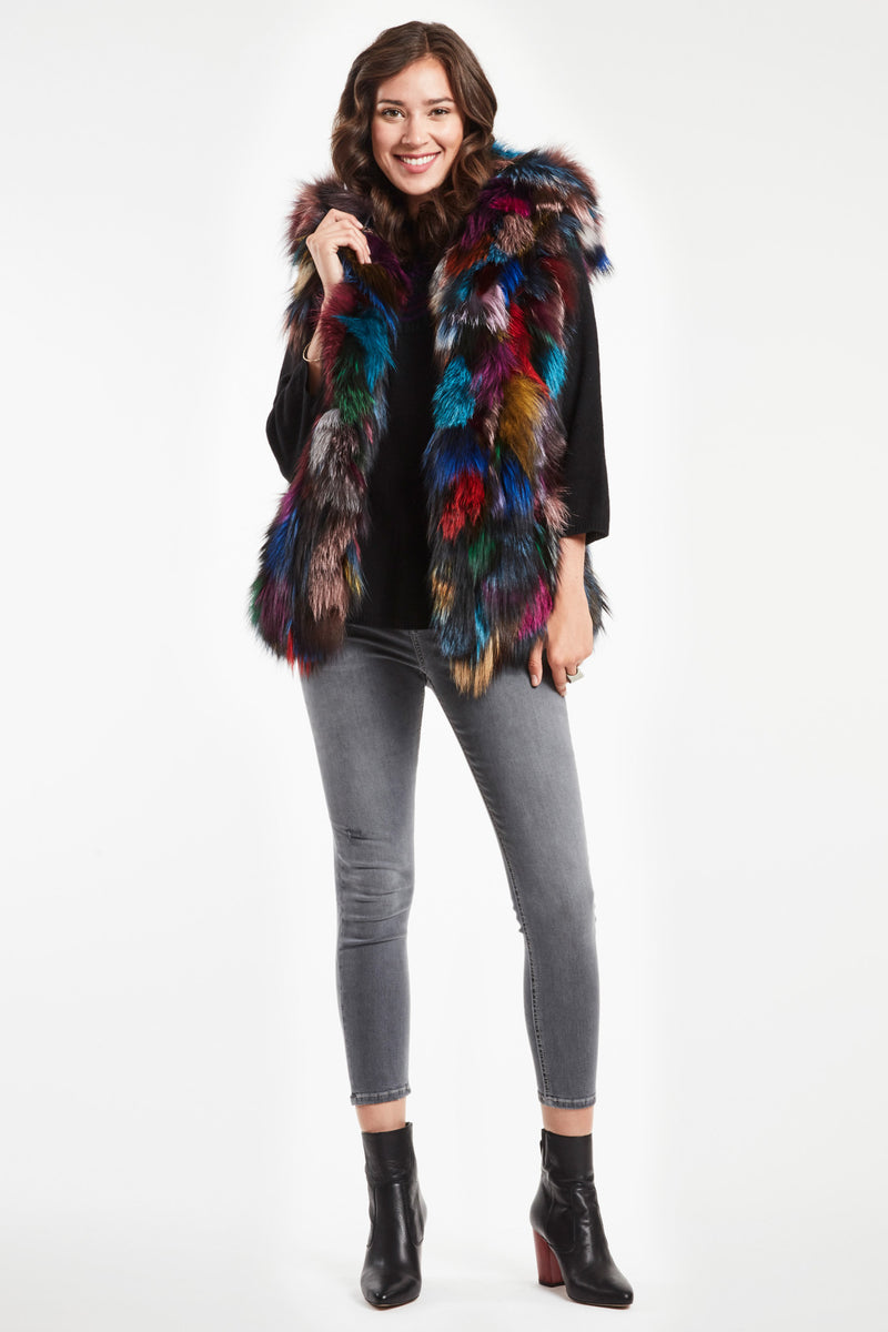 Multicolor Fox Fur Vest | Shop Warm Women's Winter Coats ...