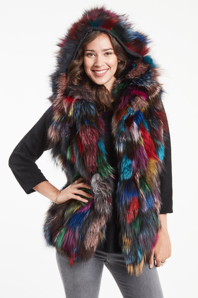 MULTI COLORED FOX SECTION VEST WITH HOOD #658