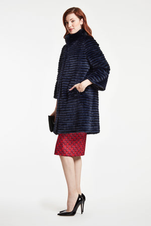 Load image into Gallery viewer, REVERSIBLE MINK COAT WITH BRACELET SLEEVE  LAST ONE NAVY  Sorry Sold out