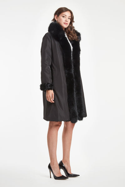 REVERSIBLE STORM COAT WITH FOX TRIM #6218