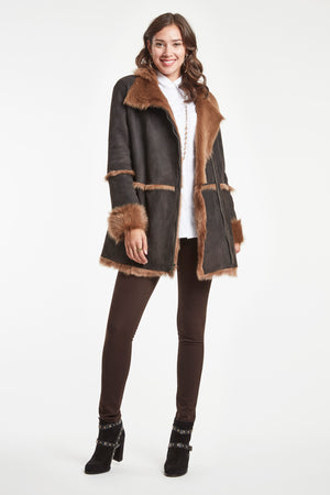 SHEARLING JACKET WITH TOSCANA SPILL SEAMS   #637T