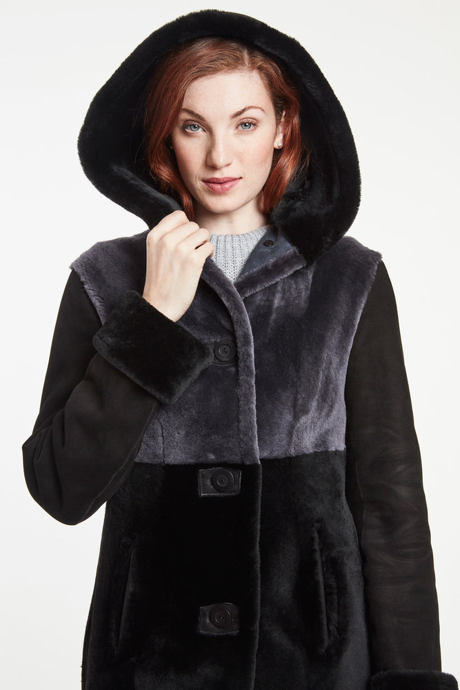 COLOR BLOCK SLIGHTLY SHAPED COAT WITH  HOOD #6231HD