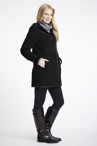 A Line Shearling Topper With Hood #870HD