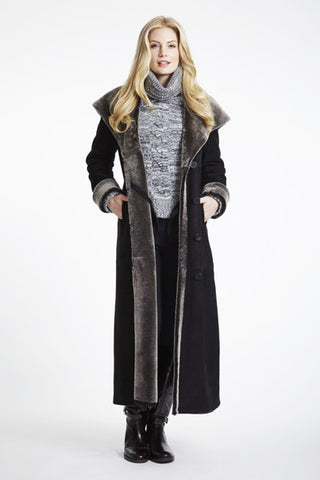 Full Length Large Collar Hooded Shearling Coat #7534