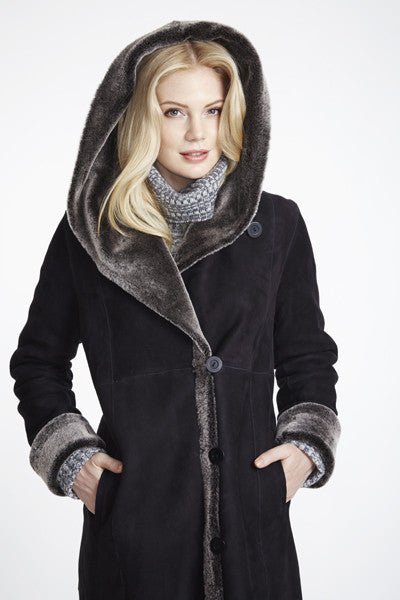Load image into Gallery viewer, #6423 Long Long Hooded Coat Retaio $2795 now 50% off $1295