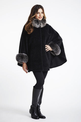 Alpaca Cape With Dyed Fox Trim #863