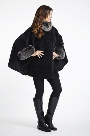 Load image into Gallery viewer, #752ST  Fox Trimmed Alpaca Cape