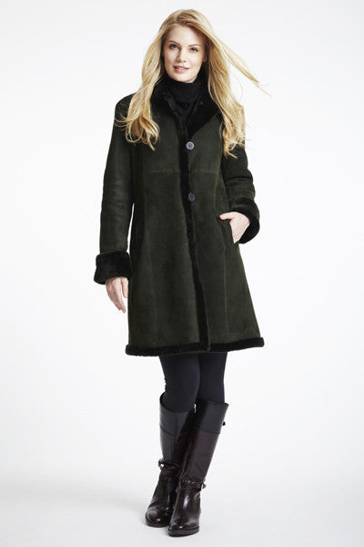 Load image into Gallery viewer, Shearling Fitted Coat With Shearling Hem& Stand Collar #3027-SALE