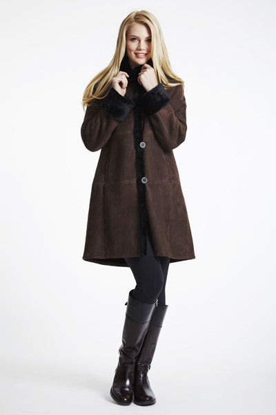 #3100 PLUS SIZE SHEARLING COAT WITH DROPPED SHOULDER
