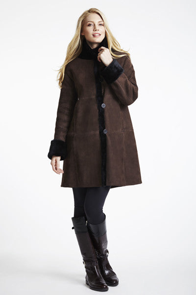 Load image into Gallery viewer, #3100 PLUS SIZE SHEARLING COAT WITH DROPPED SHOULDER