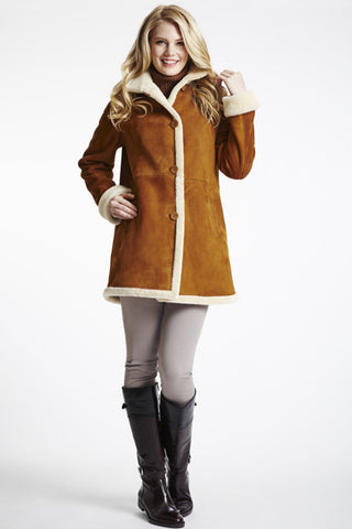 Easy Fit Shearling Jacket with Stand Collar #422
