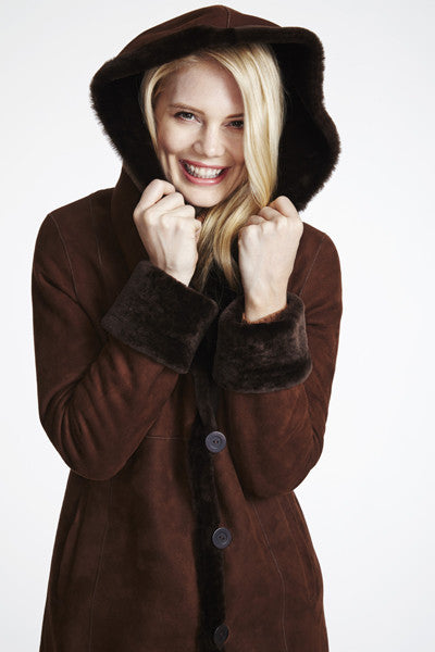 Load image into Gallery viewer, #1294 Fitted Merino Shearling with Full Hood  SALE $895