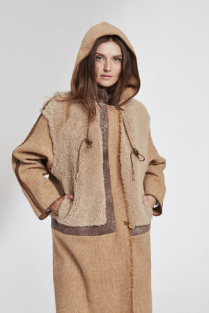 Load image into Gallery viewer, 2024 Lamb Wool and Leather Artisanal Coat Last One  O/S  $1599 now 80% 0ff $319