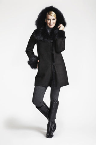 Shearling Fitted Coat With Hood And Toscana Trim #378