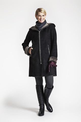 Fitted Shearling Coat With Zip Front And Hood #5293HD