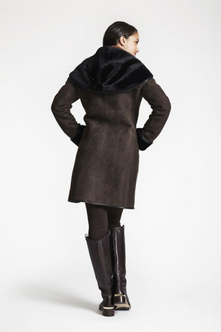 SHAWL COLLAR HOOD COAT WITH LEATHER PIPING #5294