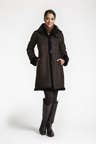 Shearling Fitted Coat With Shearling Hem #3027
