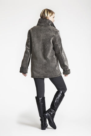 REVERSIBLE SHEARLING TO CURLY  WOOL BARN JACKET #550  70%OFF