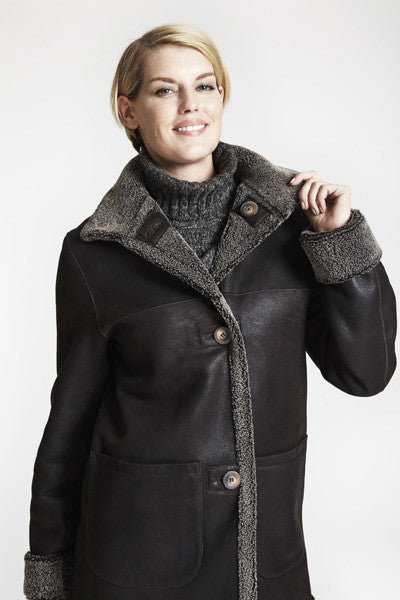 Load image into Gallery viewer, #449 REVERSIBLE BARN JACKET Shown in brown curly shearling Sale $675  25% off now $506