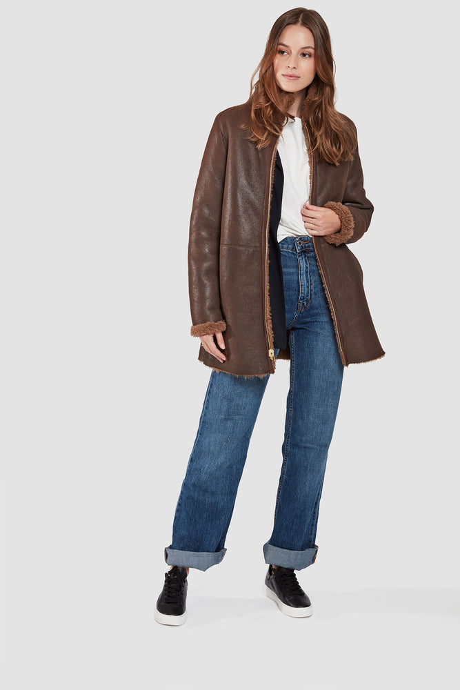 Load image into Gallery viewer, #108 Cozy Shearling Lamb Shown Malt  avaialble in chocolate brown or black only $590