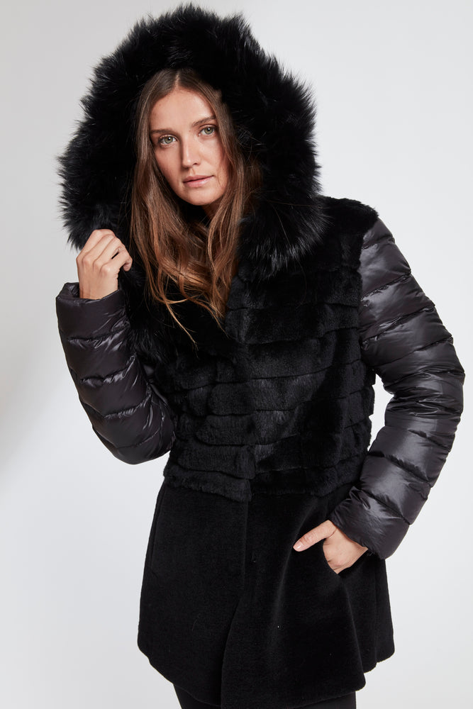 #115  Fox Hooded Fur Topper