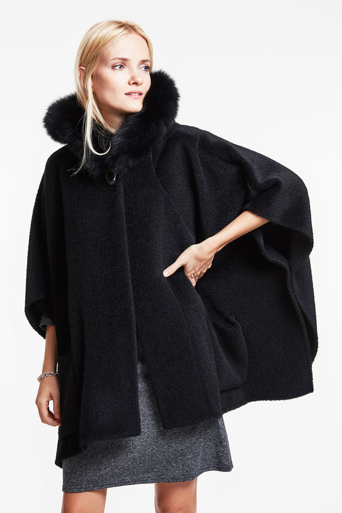 Load image into Gallery viewer, #756 Alpaca Pocket Cape REDUCED $1299  37% off  now $475