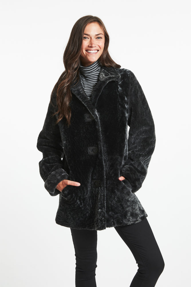 #645 Downtown Girl Shearling Topper