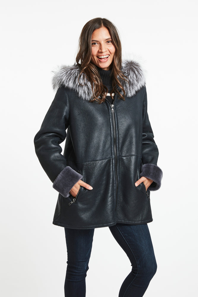 #935 Granite Planet Shearling Parka $1795 60% off $718