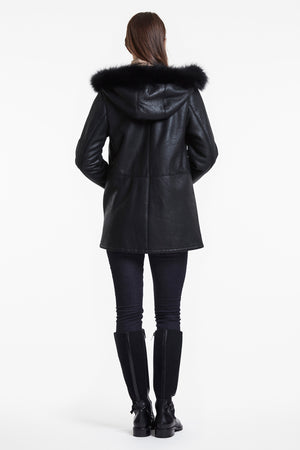 Load image into Gallery viewer, #305 Hooded Shearling Jacket  with Fox Trim