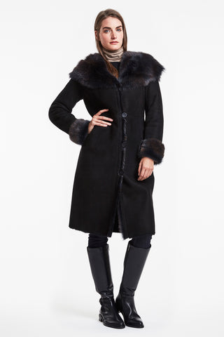 Mid calf shaped shearling coat #8373HD