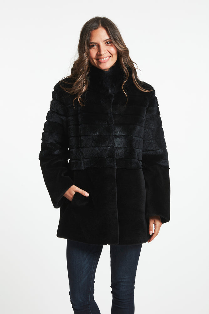Load image into Gallery viewer, #547 Fox Trimmed Fur Topper Close out $390.00