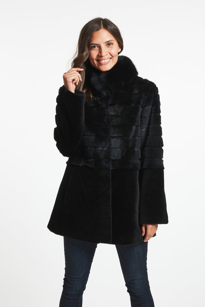 #547 Fox Trimmed Fur Topper Close out $390.00
