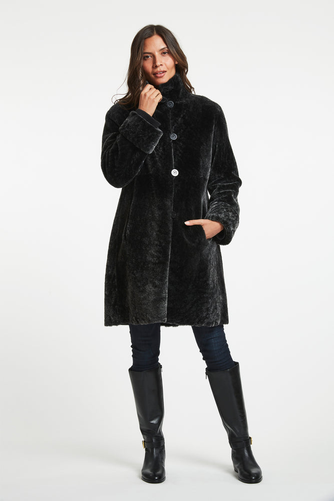 Reversible shearling coat #8203CHAR