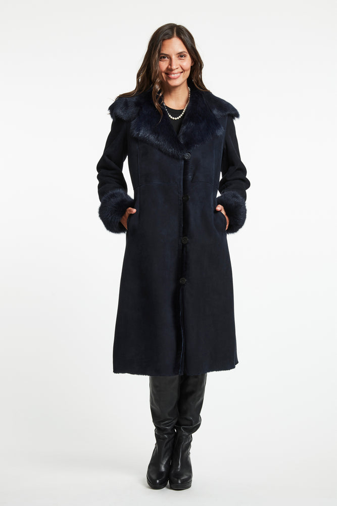 Load image into Gallery viewer, #2627A  SHEARLING MIDI COAT