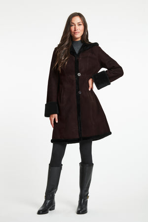 Shearling Fitted Coat With Shearling Hem& Stand Collar #3027-SALE
