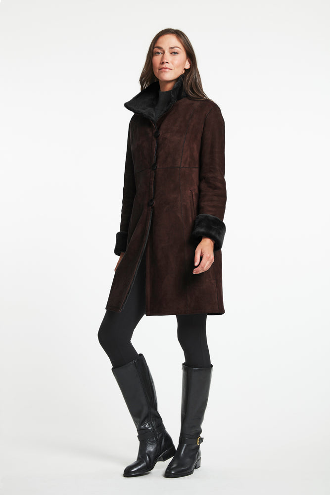 #8194  Great Fitted Shearling Reversible Coat  Best  SALE $850