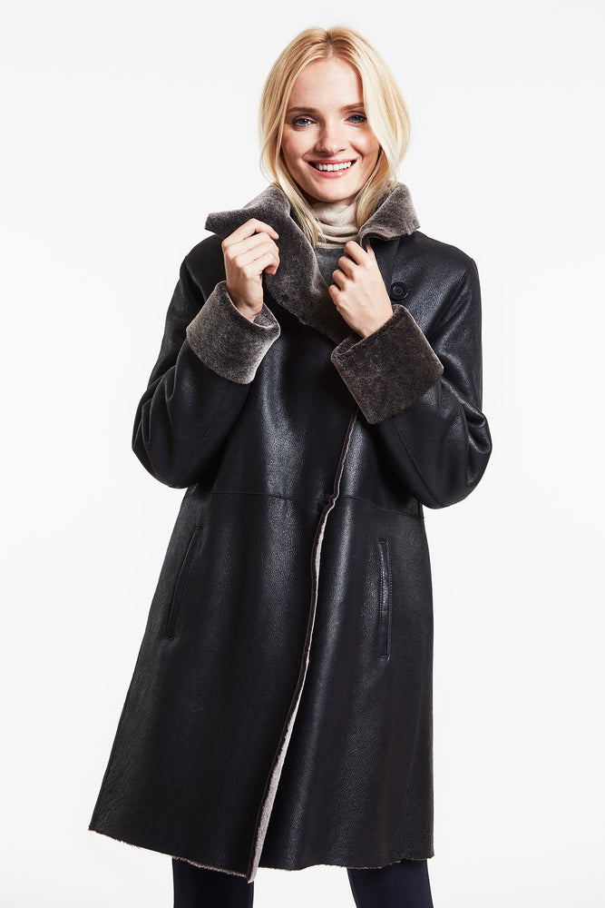 Unconstructed Shearling Coat #4289