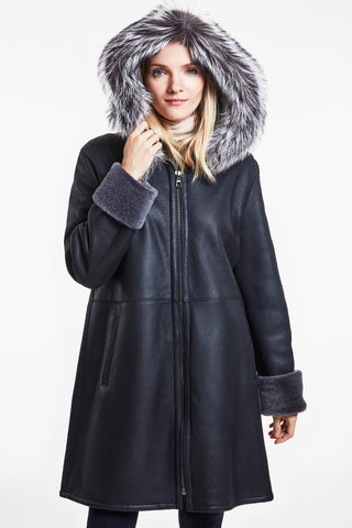 Hooded zipper shearling coat #4126HD