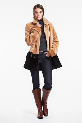 Color block shearling trotter #777
