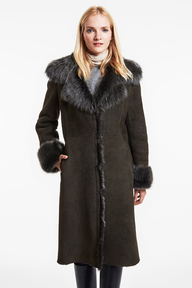 Shearling midi coat #3738