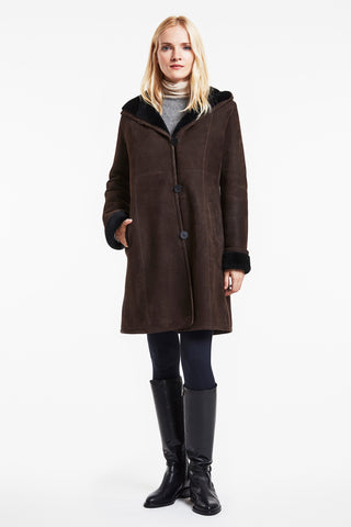 Body flattering shearlling coat #2927