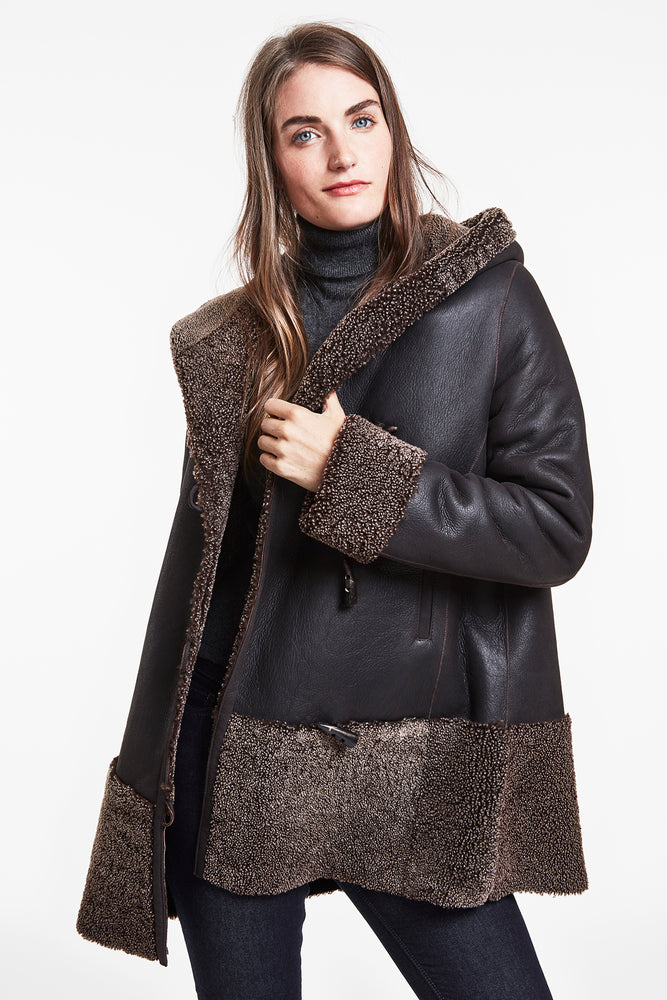 Bordered Shearling Topper #771