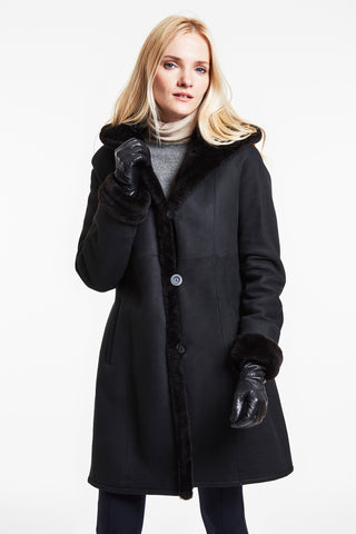 Hooded shearling classic walking coat #6292