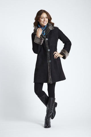 Fitted Stand Collar Shearling Coat #4022