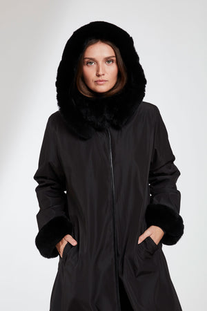 Load image into Gallery viewer, #8190HD HOODED REVERSIBLE STORM COAT  $497.00 40% off $290.00