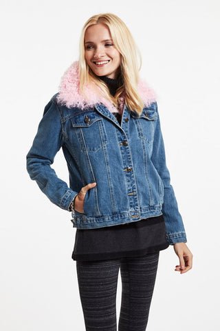 Denim Jacket with Removable Lamb Collar #857B