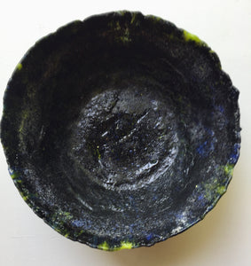 Black and Green Pate de Verre Bowl
