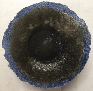 Blue and Black Pate de Verre Bowl